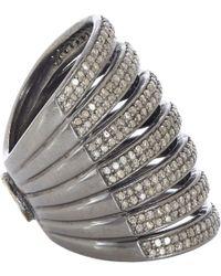 Carole Shashona Black Diamond  Oxidized Silver Lotus Seven Blessings Cage Ring