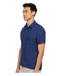 VINCE | Blue Short Sleeve Button Up Shirt for Men | Lyst