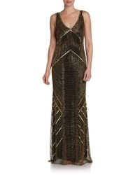 THEIA - Metallic Art Deco Beaded Gown - Lyst