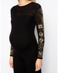 ASOS - Black Jumpsuit With Sheer Panel And Embellishment - Lyst