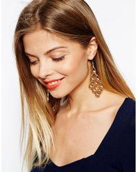 ASOS - Metallic Filigree Faux Pearl Chandelier Earrings - Lyst
