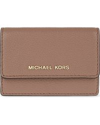 MICHAEL Michael Kors | Brown Daniela Small Pebbled Leather Card Case | Lyst