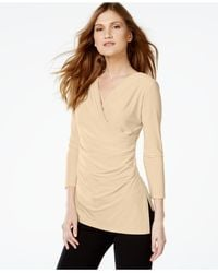 Calvin Klein | Natural High-low Surplice Top | Lyst