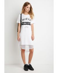 Forever 21 | White Mesh-hem Nueva York Dress | Lyst