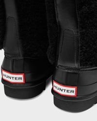 Hunter   Black Women's Original Shearling Lace-up Boots   Lyst