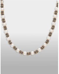 Lord & Taylor | Metallic Sterling Silver And 14k Yellow Gold Freshwater Pearl Necklace | Lyst