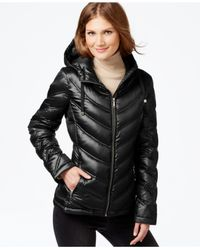 Calvin Klein | Black Chevron-quilted Packable Down Puffer Coat | Lyst