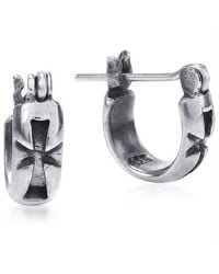 Aeravida | Metallic Maltese Cross Inscribed Sterling Silver Hoop Lock Earrings | Lyst