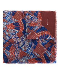 Kiton - Blue Printed Frayed Edge Scarf - Lyst