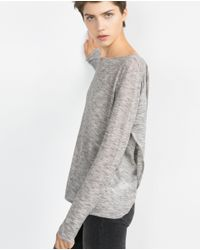Zara | Gray Boat Neck Sweater | Lyst