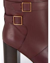 Tod's - Purple Leather Block-Heel Boots - Lyst
