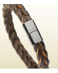 Gucci - Dark Brown Woven Leather Bracelet for Men - Lyst