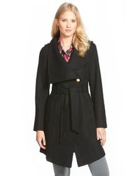 Guess | Black Belted Asymmetrical Wool Blend Trench Coat | Lyst