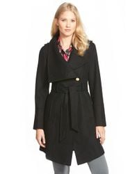 Guess - Black Belted Asymmetrical Wool Blend Trench Coat - Lyst