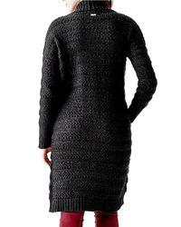 Guess - Black Long, Textural Shawl-collared Cardigan - Lyst