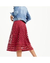 J.Crew | Red Perforated Eyelet A-line Skirt | Lyst