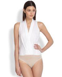Donna Karan | White Wrap Bodysuit | Lyst