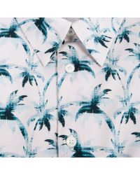 Paul Smith | Blue Men's Light Pink 'ink Palm' Print Short-sleeve Shirt for Men | Lyst