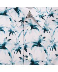 Paul Smith - Blue Men's Light Pink 'ink Palm' Print Short-sleeve Shirt for Men - Lyst