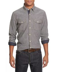Jeremiah | Gray 'wade' Regular Fit Chambray Sport Shirt for Men | Lyst