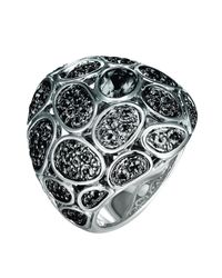 John Hardy - Black Kali Medium Pebble Lava Domed Moonstone Ring - Lyst