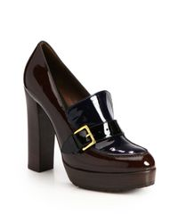 Marni | Blue Bicolor Patent Leather Loafer Pumps | Lyst