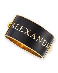 Alexander McQueen - Black Large Logo Enamel Cuff - Lyst