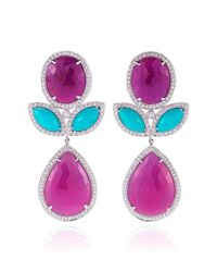 Dana Rebecca - Blue Sapphire Turquoise and Diamond Earrings in White Gold - Lyst