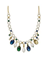 kate spade new york - Metallic New York Goldtone Multicolor Stone Fauxpearl Collar Necklace - Lyst