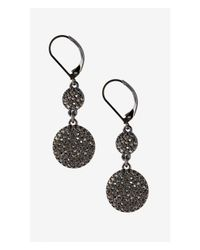 Express | Black Pave Double Disc Earring | Lyst