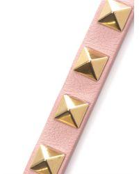Valentino | Pink Studded Leather Bracelet | Lyst