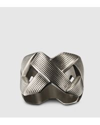 Gucci | Gray Ring With Crisscross Design for Men | Lyst