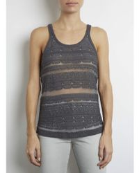 INHABIT | Gray Textured Tank With Sheer Stripes | Lyst
