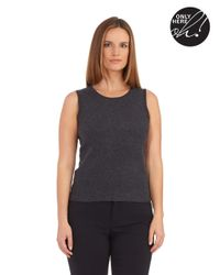 Lord & Taylor | Gray Cashmere Scoop Neck Tank Sweater | Lyst