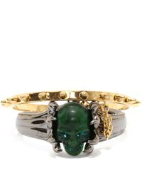 Alexander McQueen | Green Claw Skull Double Bangle | Lyst