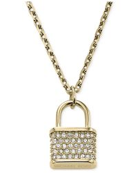 Michael Kors | Metallic Gold-Tone Padlock Charm Pendant Necklace | Lyst