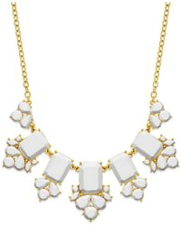 kate spade new york | White Gold-tone Epoxy Stone Necklace | Lyst