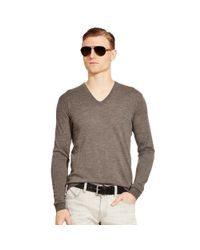 Ralph Lauren Black Label | Gray Merino V-neck Pullover for Men | Lyst