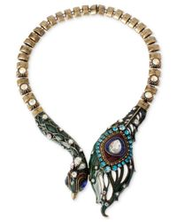 Betsey Johnson - Brass-Tone Multicolor Peacock Frontal Necklace - Lyst