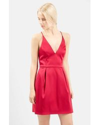 TOPSHOP | Red V-neck Satin Minidress | Lyst
