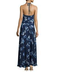 Haute Hippie - Blue Halter-neck Floral-print Wrap Dress - Lyst