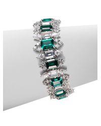 CZ by Kenneth Jay Lane - Green Emerald Cut Link Bracelet - Lyst