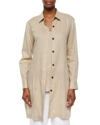 Go> By Go Silk - Natural Long-sleeve Linen Duster - Lyst