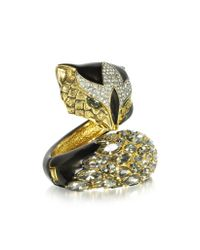 Roberto Cavalli - Metallic Fox Brass And Crystal Bracelet - Lyst