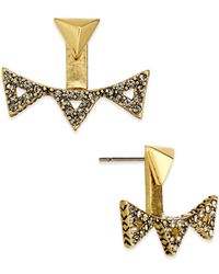 House of Harlow 1960 | Metallic Gold-tone Pavé Triangle Ear Jackets | Lyst