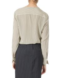 Altuzarra | Gray Pinstriped Slit Pencil Skirt | Lyst