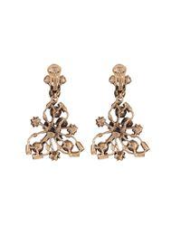 Oscar de la Renta | Metallic Crystal Flower Clip On Earrings | Lyst