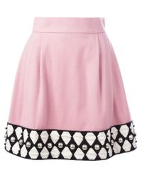 Olympia Le-Tan - Pink Embellished Hem A-line Skirt - Lyst