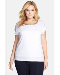 MICHAEL Michael Kors | White Metallic Trim Ballet Neck Top | Lyst