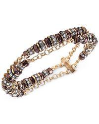 Jones New York - Metallic Gold-Tone Crystal Two Row Flex Bracelet - Lyst